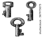 old style key collection .... | Shutterstock . vector #587975075