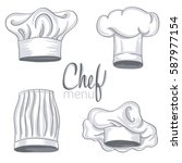 set of hand drawn chef hat on... | Shutterstock .eps vector #587977154