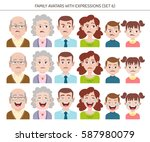 set of family avatars with... | Shutterstock .eps vector #587980079