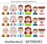 set of family avatars with... | Shutterstock .eps vector #587980091