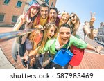 group of multicultural tourists ... | Shutterstock . vector #587983469