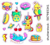 neon stickers set in 80s 90s... | Shutterstock .eps vector #587985341