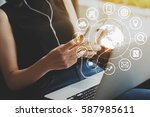 woman uses smartphone and... | Shutterstock . vector #587985611