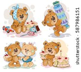 funny illustrations with teddy... | Shutterstock .eps vector #587986151