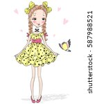 young  beautiful  cute  sweet... | Shutterstock .eps vector #587988521