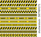 black and yellow police stripe... | Shutterstock .eps vector #587989271