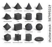 all basic 3d shapes template in