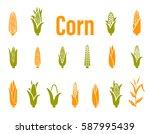 corn icons. vector illustration ... | Shutterstock .eps vector #587995439