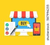 e commerce  online shopping... | Shutterstock .eps vector #587996255