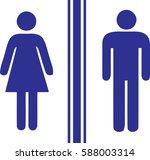 toilet man women blue | Shutterstock .eps vector #588003314