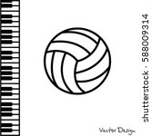 web line icon. volleyball | Shutterstock .eps vector #588009314