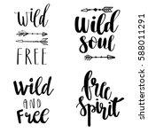 set of boho style lettering... | Shutterstock .eps vector #588011291