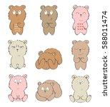 set of cartoon bears with... | Shutterstock .eps vector #588011474