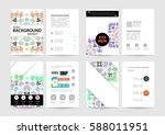 memphis geometric background... | Shutterstock .eps vector #588011951