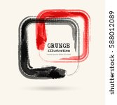 black and red ink square stroke ... | Shutterstock .eps vector #588012089