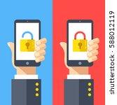 hands holding smartphones with... | Shutterstock .eps vector #588012119