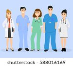 group of doctors in a hospital  ... | Shutterstock .eps vector #588016169