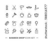 barber shop icon thin line set... | Shutterstock .eps vector #588016577