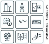 set of 9 traveling icons.... | Shutterstock . vector #588018191