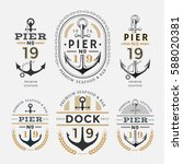 nautical label anchor no 19 set ... | Shutterstock .eps vector #588020381