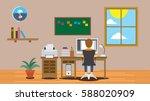 freelancer boy man working on...   Shutterstock .eps vector #588020909