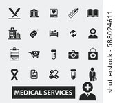 medical services icons  | Shutterstock .eps vector #588024611