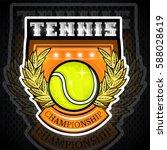 tennis ball in center of shield....   Shutterstock .eps vector #588028619