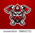 logo  mascot firefighter....   Shutterstock .eps vector #588031721