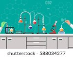 science experiment in... | Shutterstock .eps vector #588034277