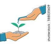 planting sapling. man farmer... | Shutterstock .eps vector #588035609
