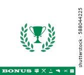 trophy icon flat. green...