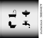 icon of bathroom equipment. | Shutterstock .eps vector #588044879