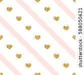 gold heart seamless pattern.... | Shutterstock .eps vector #588050621