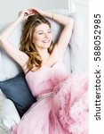 happy laughing blond hair woman ... | Shutterstock . vector #588052985