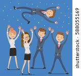 employees glad succeed. the... | Shutterstock .eps vector #588055169