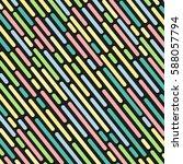 Striped Geometric Pattern Black ...