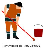 housemaid cleaner vector... | Shutterstock .eps vector #588058091