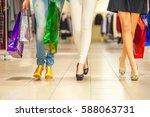 girls and shopping  slender... | Shutterstock . vector #588063731