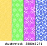seamless set floral pattern.... | Shutterstock .eps vector #588065291
