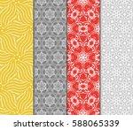 seamless set floral pattern.... | Shutterstock .eps vector #588065339