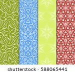 seamless set floral pattern.... | Shutterstock .eps vector #588065441