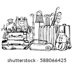 luggage. travel bags  golf... | Shutterstock .eps vector #588066425