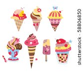 collection of yummy ice creams... | Shutterstock .eps vector #58806850