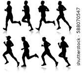 set of silhouettes. runners on... | Shutterstock .eps vector #588070547