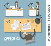 businesswoman sitting at office ... | Shutterstock .eps vector #588073001