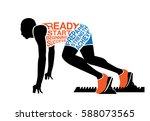 silhouette runner in ready... | Shutterstock .eps vector #588073565