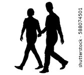 silhouette man and woman... | Shutterstock .eps vector #588074501