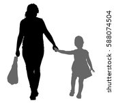 silhouette of happy family on a ... | Shutterstock .eps vector #588074504
