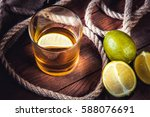 a bottle of whiskey  rum ... | Shutterstock . vector #588076691