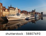 The riverside with the characteristic crane of Gdansk, Poland. - stock photo